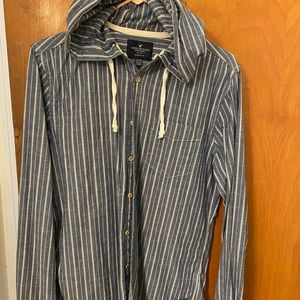 Men's American Eagle Hooded Striped Button-up